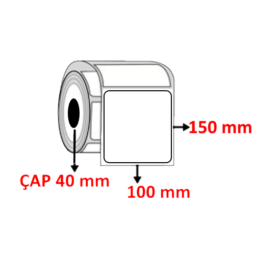 Vellum 100 mm x 150 mm Barkod Etiketi ÇAP 40 mm ( 6 Rulo )