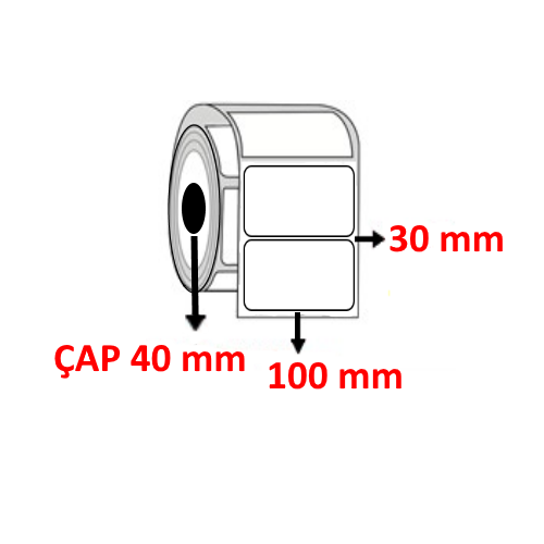 Vellum 100 mm x 30 mm Barkod Etiketi ÇAP 40 mm ( 6 Rulo ) 9.000  ADET