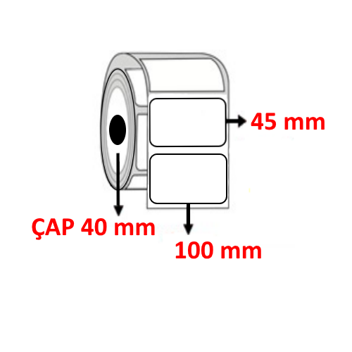 Vellum 100 mm x 45 mm Barkod Etiketi ÇAP 40 mm ( 6 Rulo )