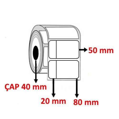 Vellum 100 mm x 50 mm ( 20+80 ) Barkod Etiketi ÇAP 40 mm ( 6 Rulo ) 6.000 ADET