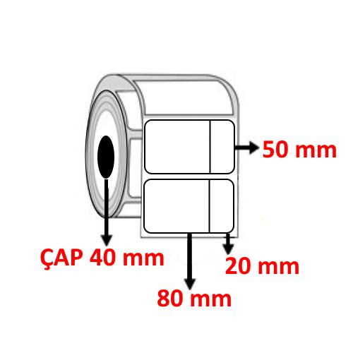 Vellum 100 mm x 50 mm ( 80+20 ) Barkod Etiketi ÇAP 40 mm ( 6 Rulo ) 6.000  ADET