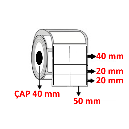 Vellum 100 mm x 80 mm ( 50/40+20+20 ) YY2 li Barkod Etiketi ÇAP 40 mm ( 6 Rulo ) 3.000  ADET