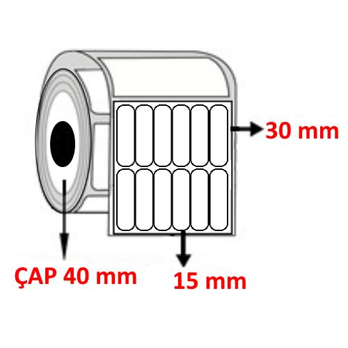 Vellum 15 mm x 30 mm YY6 LI Barkod Etiketi ÇAP 40 mm ( 6 Rulo )