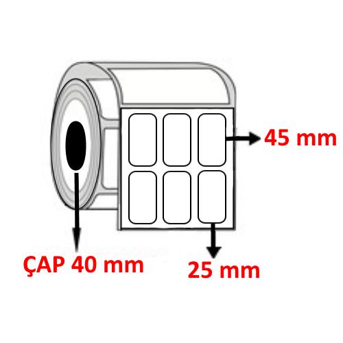 Vellum 25 mm x 45 mm YY4 LÜ Barkod Etiketi ÇAP 40 mm ( 6 Rulo )