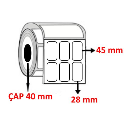 Vellum 28 mm x 45 mm YY3 LÜ Barkod Etiketi ÇAP 40 mm ( 6 Rulo ) 18.000 ADET