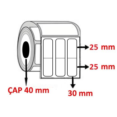 Vellum 30 mm x 50 (25+25) mm YY3 LÜ Barkod Etiketi ÇAP 40 mm ( 6 Rulo ) 18.000 ADET