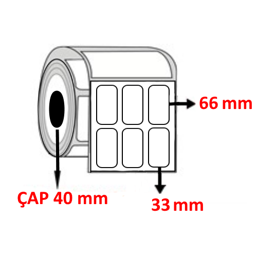 Vellum 33 mm x 66 mm YY3 LÜ Barkod Etiketi ÇAP 40 mm ( 6 Rulo ) 18.000 ADET