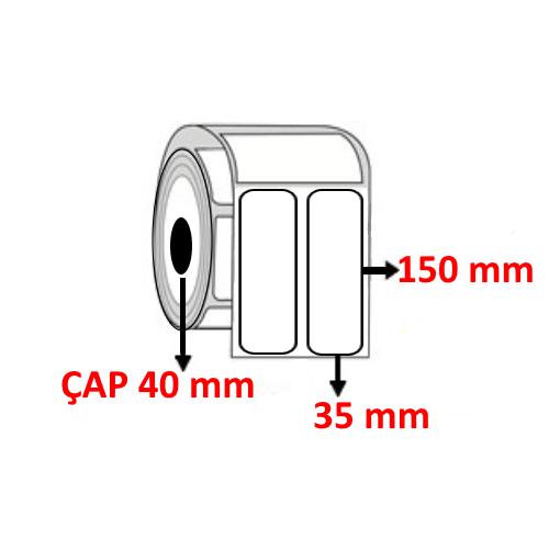 Vellum 35 mm x 150 mm YY2 Lİ Barkod Etiketi ÇAP 40 mm ( 6 Rulo )