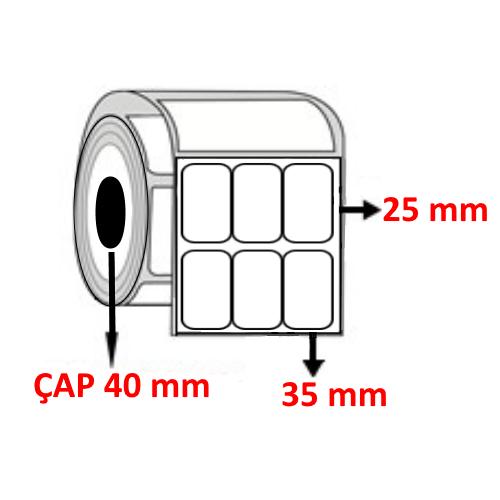 Vellum 35 mm x 25 mm YY3 LÜ Barkod Etiketi ÇAP 40 mm ( 6 Rulo )
