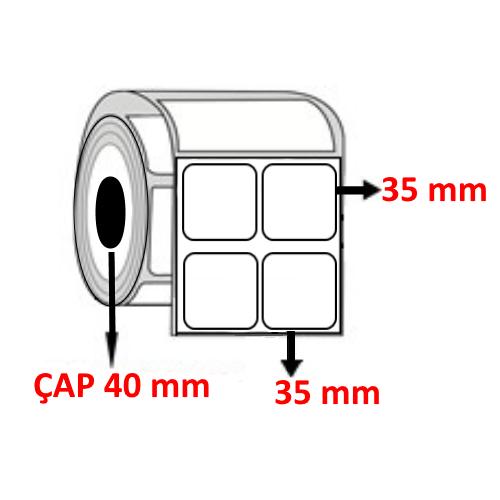 Vellum 35 mm x 35 mm YY2 Lİ Barkod Etiketi ÇAP 40 mm ( 6 Rulo ) 18.000 ADET