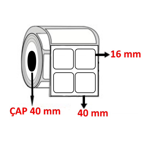 Vellum 40 mm x 16 mm YY2 Lİ Barkod Etiketi ÇAP 40 mm ( 6 Rulo )