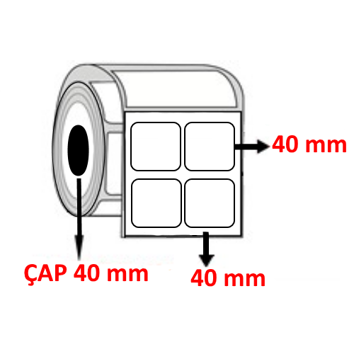 Vellum 40 mm x 40 mm YY2 Lİ Barkod Etiketi ÇAP 40 mm ( 6 Rulo )