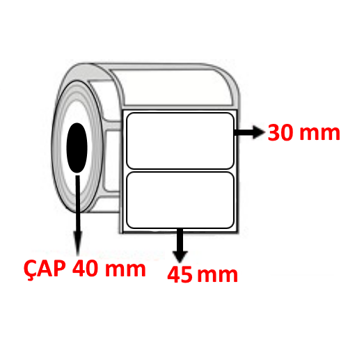 Vellum 45 mm x 30 mm Barkod Etiketi ÇAP 40 mm ( 6 Rulo )