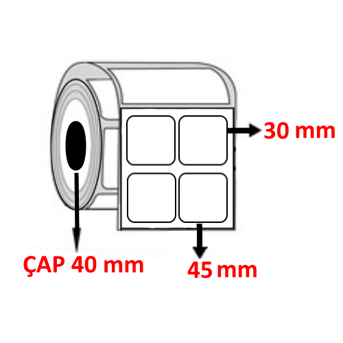 Vellum 45 mm x 30 mm YY2 Lİ Barkod Etiketi ÇAP 40 mm ( 6 Rulo ) 18.000  ADET