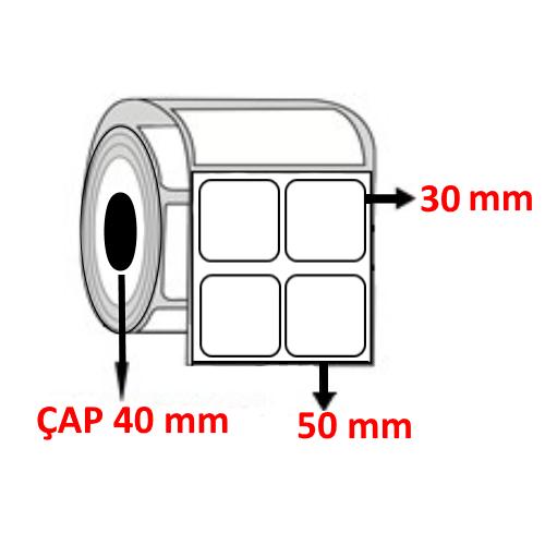 Vellum 50 mm x 30 mm YY2 Lİ Barkod Etiketi ÇAP 40 mm ( 6 Rulo ) 18.000  ADET