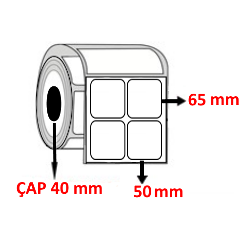 Vellum 50 mm x 65 mm YY2 Lİ Barkod Etiketi ÇAP 40 mm ( 6 Rulo )