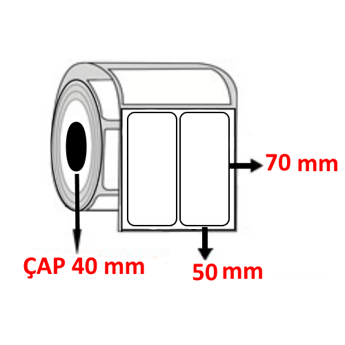 Vellum 50 mm x 75 mm YY2 Lİ Barkod Etiketi ÇAP 40 mm ( 6 Rulo )
