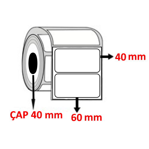 Vellum 60 mm x 40 mm Barkod Etiketi ÇAP 40 mm ( 6 Rulo )