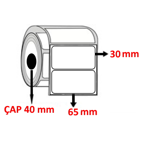 Vellum 65 mm x 30  mm Barkod Etiketi ÇAP 40 mm ( 6 Rulo ) 10.500  ADET