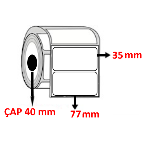Vellum 77 mm x 35 mm Barkod Etiketi ÇAP 40 mm ( 6 Rulo )