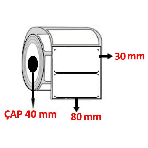 Vellum 80 mm x 30 mm Barkod Etiketi ÇAP 40 mm ( 6 Rulo )