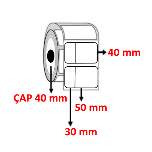 Vellum 80 mm x 40 mm (30/50 ) Barkod Etiketi ÇAP 40 mm ( 6 Rulo )