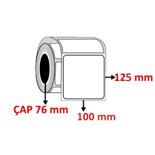 Kuşe 100 mm x 125 mm Barkod Etiketi ÇAP 76 mm ( 6 Rulo ) 7.200 ADET