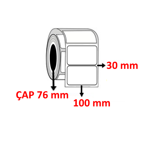 Kuşe 100 mm x 30 mm Barkod Etiketi ÇAP 76 mm ( 6 Rulo ) 27.000 ADET