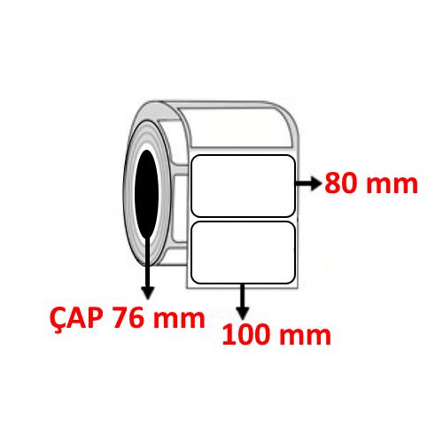 Kuşe 100 mm x 80 mm Barkod Etiketi ÇAP 76 mm ( 6 Rulo ) 6.000 ADET