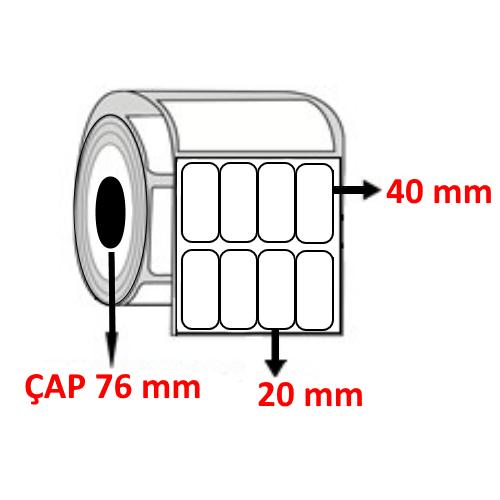 Kuşe 20 mm x 40 mm YY4 LÜ Barkod Etiketi ÇAP 76 mm ( 6 Rulo )