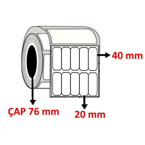 Kuşe 20 mm x 40 mm YY5 Lİ Barkod Etiketi ÇAP 76 mm ( 6 Rulo )