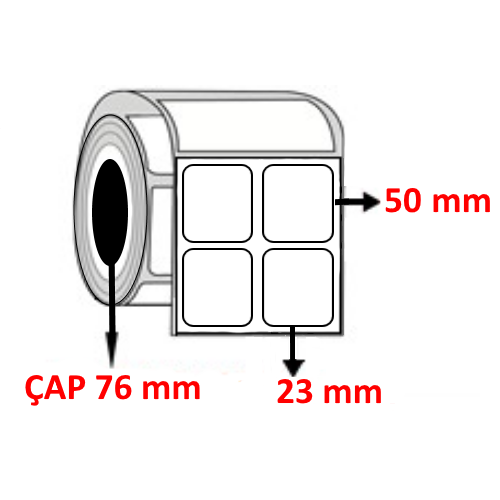 Kuşe 23 mm x 50 mm YY2 Lİ Barkod Etiketi ÇAP 76 mm ( 6 Rulo ) 30.000 ADET