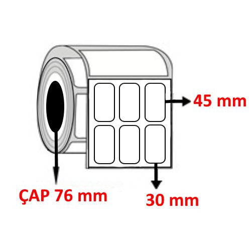Kuşe 30 mm x 45 mm YY3 LÜ Barkod Etiketi ÇAP 76 mm ( 6 Rulo )