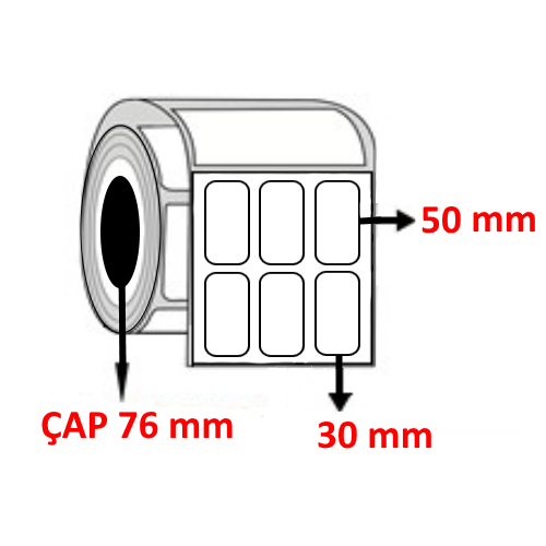 Kuşe 30 mm x 50 mm YY3 LÜ Barkod Etiketi ÇAP 76 mm ( 6 Rulo )