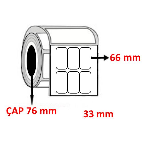 Kuşe 33 mm x 66 mm YY3 LÜ Barkod Etiketi ÇAP 76 mm ( 6 Rulo )