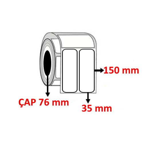 Kuşe 35 mm x 150 mm YY2 Lİ Barkod Etiketi ÇAP 76 mm ( 6 Rulo ) 9.000 ADET