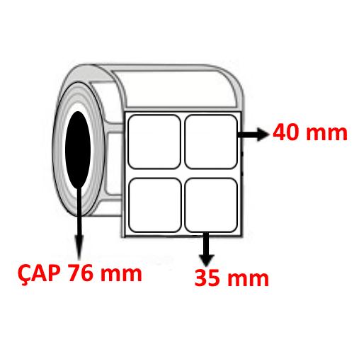 Kuşe 35 mm x 40 mm YY2 Lİ Barkod Etiketi ÇAP 76 mm ( 6 Rulo ) 36.000 ADET