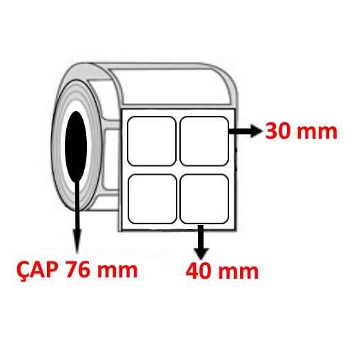 Kuşe 40 mm x 30 mm YY2 Lİ Barkod Etiketi ÇAP 76 mm ( 6 Rulo )