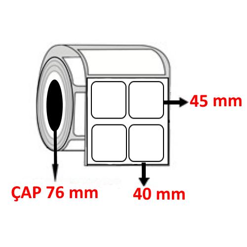 Kuşe 40 mm x 45 mm YY2 Lİ Barkod Etiketi ÇAP 76 mm ( 6 Rulo )