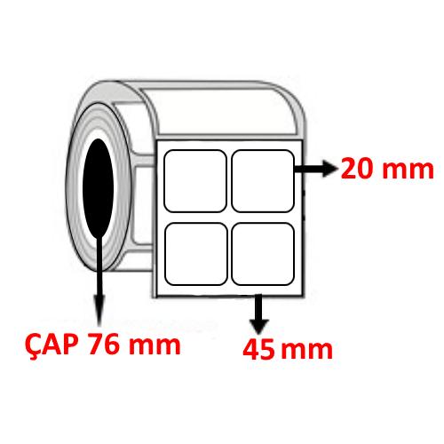 Kuşe 45 mm x 20 mm YY2 Lİ Barkod Etiketi ÇAP 76 mm ( 6 Rulo ) 60.000 ADET 60.000 ADET
