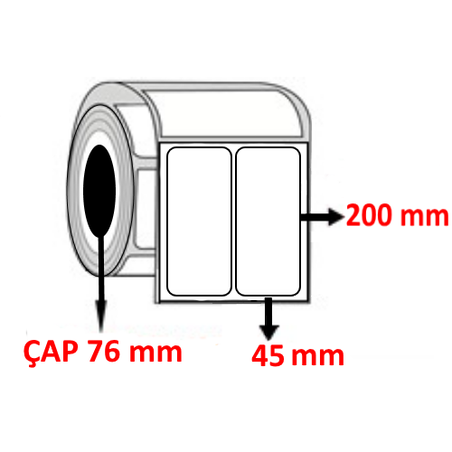 Kuşe 45 mm x 200 mm YY2 Lİ Barkod Etiketi ÇAP 76 mm ( 6 Rulo )
