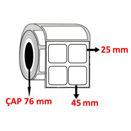 Kuşe 45 mm x 25 mm YY2 Lİ Barkod Etiketi ÇAP 76 mm ( 6 Rulo )