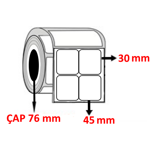 Kuşe 45 mm x 30 mm YY2 Lİ Barkod Etiketi ÇAP 76 mm ( 6 Rulo )