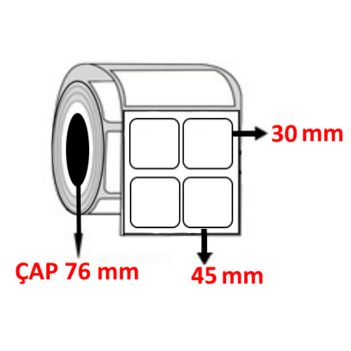 Kuşe 45 mm x 30 mm YY2 Lİ Barkod Etiketi ÇAP 76 mm ( 6 Rulo ) 60.000 ADET