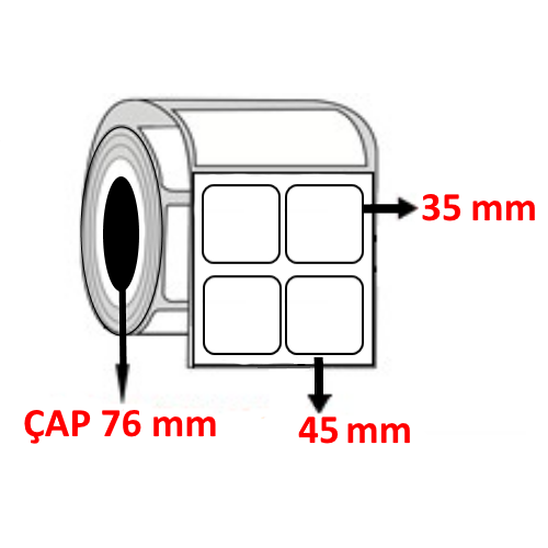 Kuşe 45 mm x 35 mm YY2 Lİ Barkod Etiketi ÇAP 76 mm ( 6 Rulo )