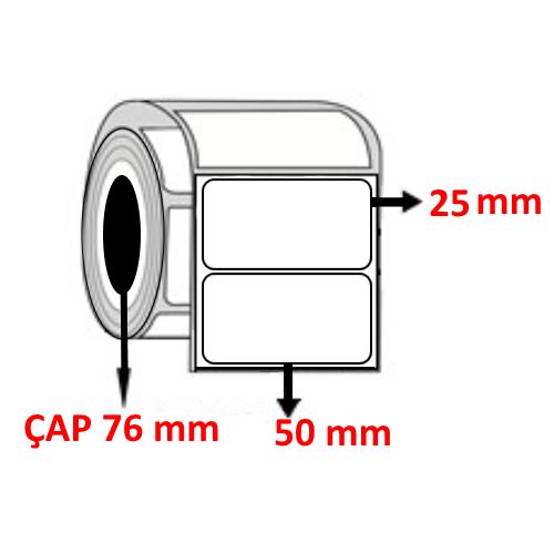 Kuşe 50 mm x 25 mm Barkod Etiketi ÇAP 76 mm ( 6 Rulo )