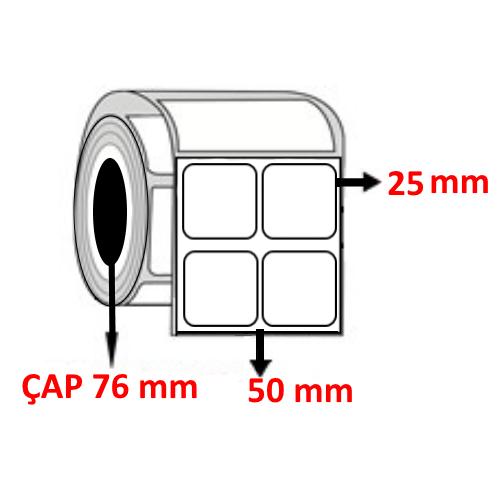Kuşe 50 mm x 25 mm YY2 Lİ Barkod Etiketi ÇAP 76 mm ( 6 Rulo ) 60.000 ADET