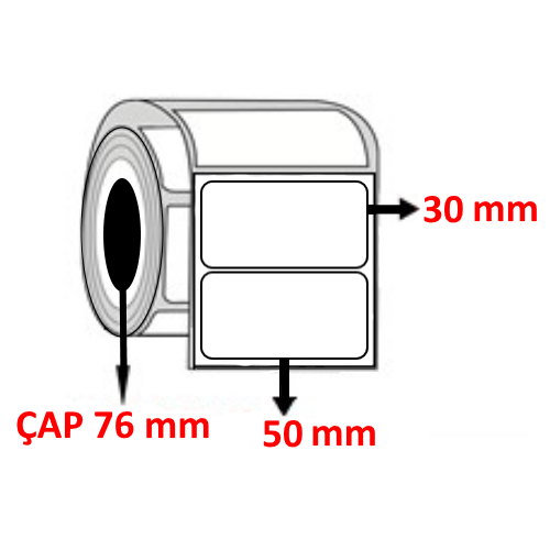 Kuşe 50 mm x 30 mm Barkod Etiketi ÇAP 76 mm ( 6 Rulo ) 27.000 ADET
