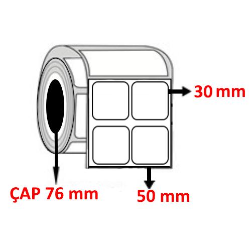 Kuşe 50 mm x 30 mm YY2 Lİ Barkod Etiketi ÇAP 76 mm ( 6 Rulo )