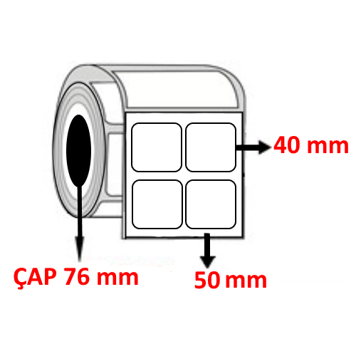 Kuşe 50 mm x 40 mm YY2 Lİ Barkod Etiketi ÇAP 76 mm ( 6 Rulo )